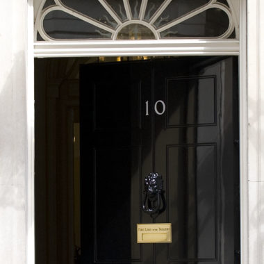 The door of Number 10 Downing Street, open