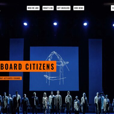 Screenshot of the homepage of the Cardboard Citizens website