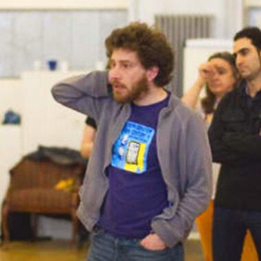 Julian Boal leads a workshop for Cardboard Citizens