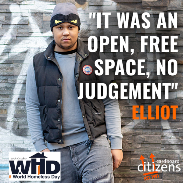 World Homelessness Day graphic featuring Citz Member Elliot