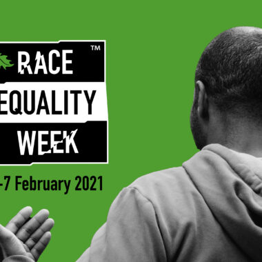Race Equality Week logo and the back of a Member