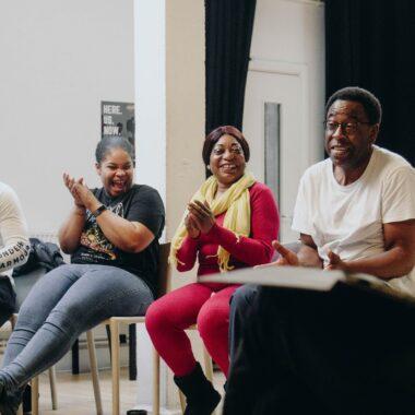 Workshop participants laugh