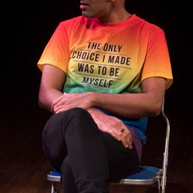 A rainbow tee-shirt which reads 'The only choice I made was to be myself'